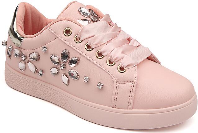 42b9762e1 Wholesale Fashion Lace Up Rhinestone Shoes Pink Diamond Shoes Size 41 Women  Casual Sneakers