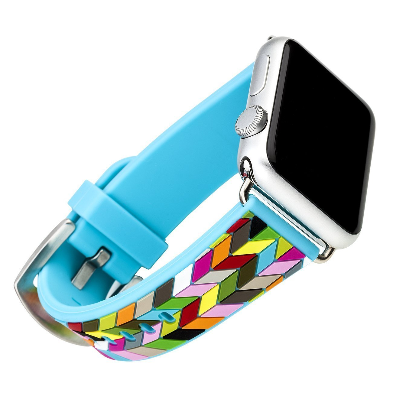 Apple Watch Band, French Bull 38mm Silicone Wrist Band Replacement w/ Metal Clasp for Apple Watch All Models 38mm (Condensed Ziggy)