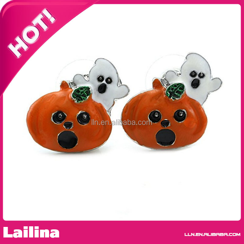Cute Happy Halloween Fall Jack O Lantern Pumpkin Post Stud Pierced Earrings Costume Fashion Jewelry