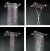 luxury bathroom concealed thermostatic multifunction spa massage mist spray top led shower mixer