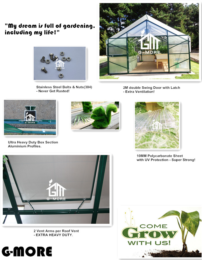 G-MORE Titan/Grange Series, 4M Width/4M Length, Heavy Duty Grow Smart Aluminium/10MM Polycarbonate Hobby Greenhouse(GM32404-G)