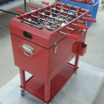 Metal Football Table Rolling Ice Cool Box Patio Cooler Cart