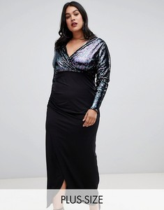 plus size women dresses Plus sequin plunge front with wrap skirt in blue glitter contrast plus size women maxi dress