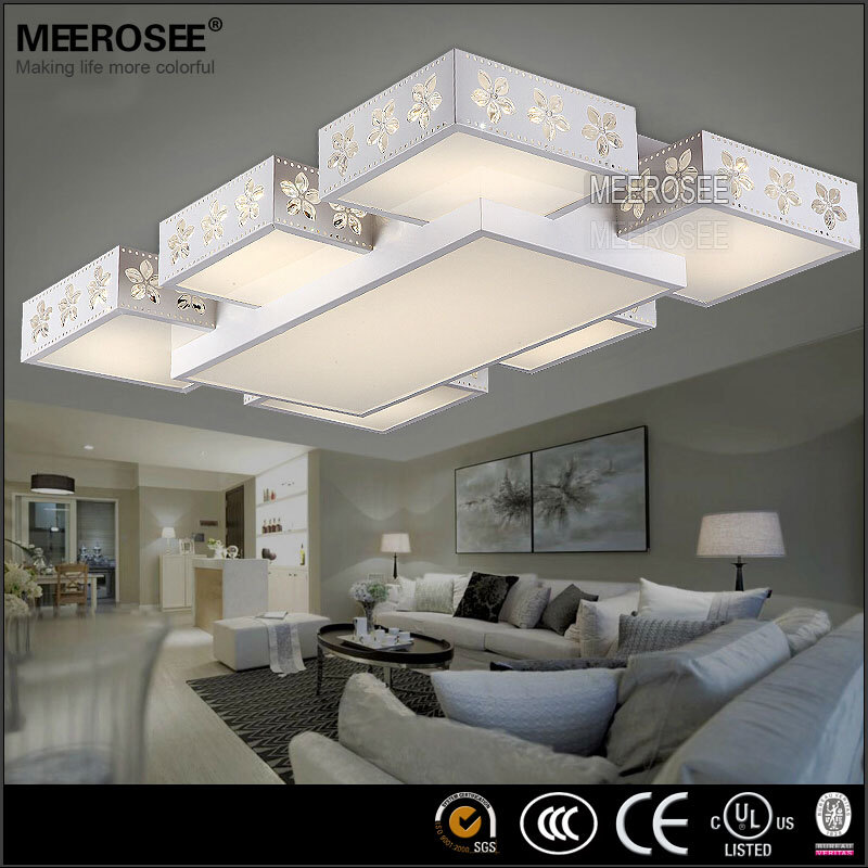 Cheap wholesale rectangle led ceiling lamp modern flower for Cheap ceiling ideas living room