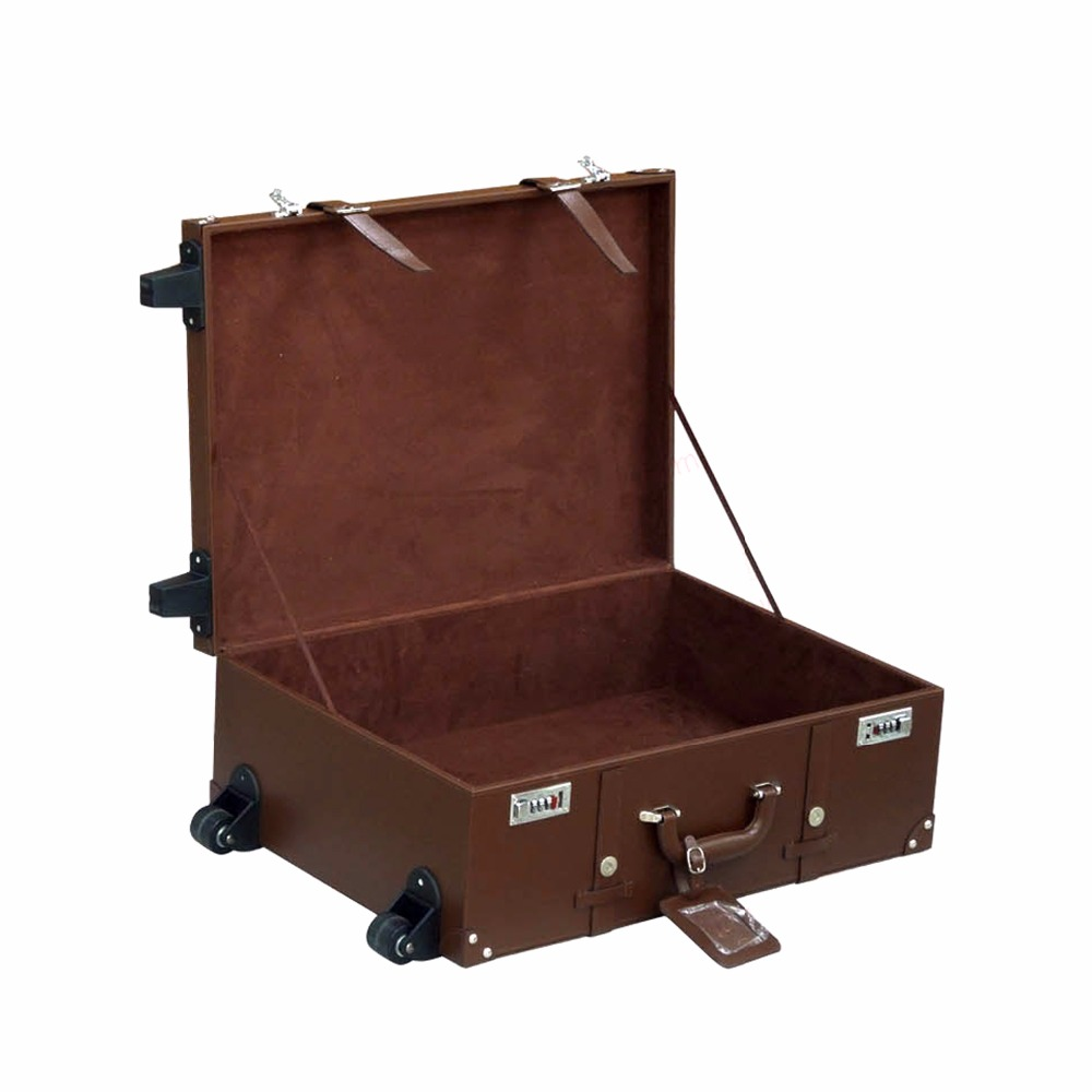 personalised portable luxury high quality vintage pu genuine leather suitcase box oem