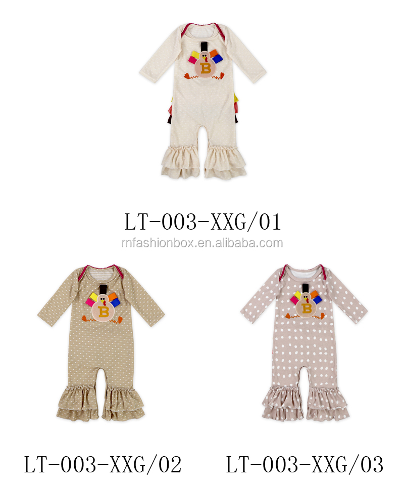 Baby boutique Polka Dots Ruffle Turkey baby Thanksgiving romper Wholesale for baby