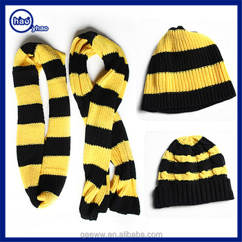 Yhao factory custom acrylic winter warm knitted scarf and hat sets  wholesale yellow and black striped 2347a6be8df