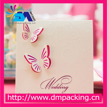 Fashion Hot Sale Creative Pink Red Wedding Invitations Cards With Envelope Elegant Butterfly Pattern Invitations Card Fold Buy Butterfly Wedding