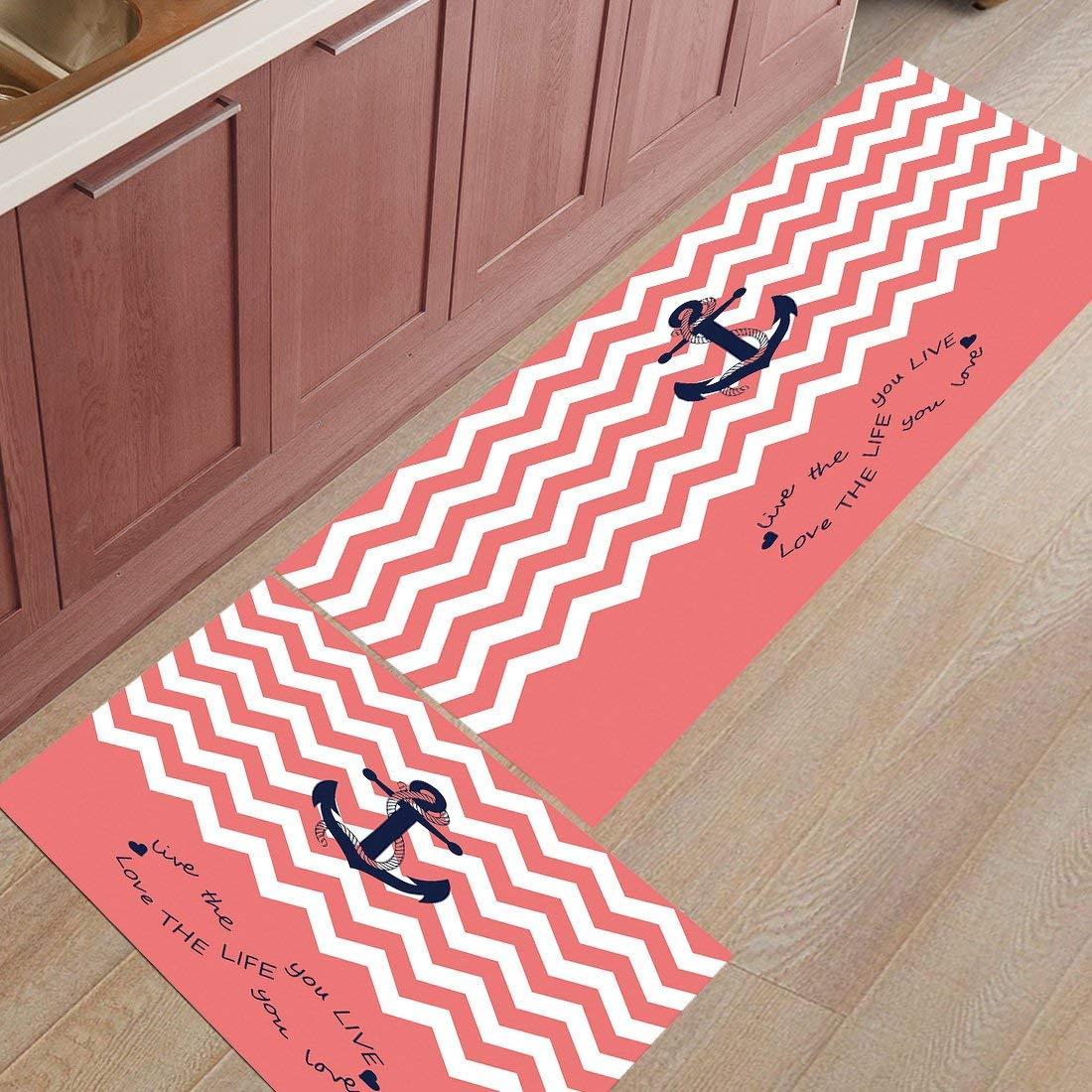 "Comfy 2 Piece Rug Set Anchor Non-Slip Soft Kitchen Mat Bath Rug Doormat Love The Life You Live Printed Carpet Set, 19.7""x31.5""+19.7""x63"""