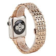 Роскошный Алмазный ремешок для часов Apple Watch 38 мм/42 мм/40 мм/44 мм браслет iWatch серии 5 4 3 2 1 браслет из нержавеющей стали(Китай)