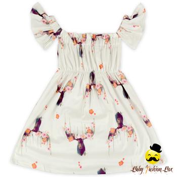 b97fdef61a47 Hot Sale Floral Deer Pattern Off Shoulder Daily Wear Children Clothing Baby  Girl Fairy Dress