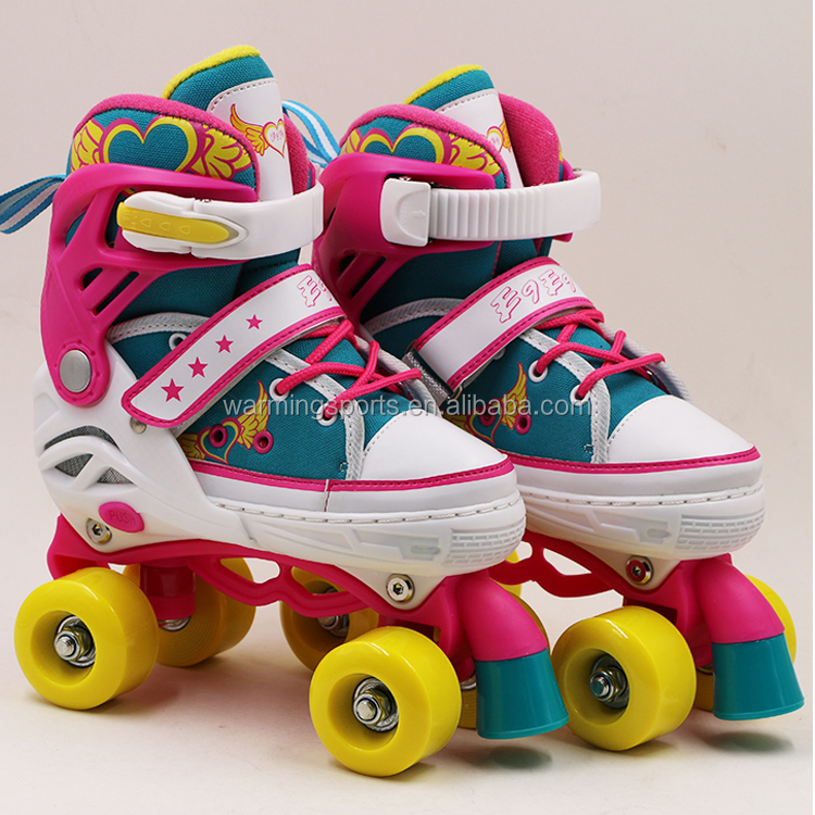 Wholesale High Quality 4 Wheels Adjustable Canvas Roller Skates For Children