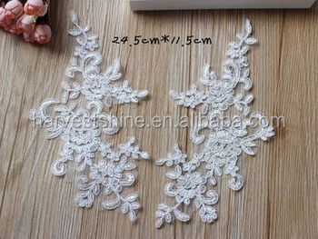 Wholesale embroidery lace white applique for wedding accessories