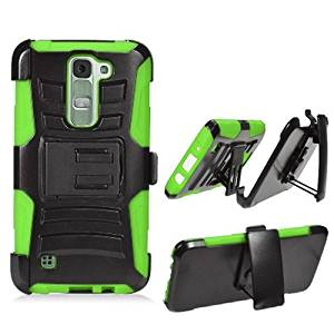 Phone Case for LG Treasure 4g LTE (Straight Talk) / LG Phoenix 2 (AT&T) / LG Escape 3 / LG K7 / LG M1 / Tribute 5 Neon Edge Cover Stand Combo Holster