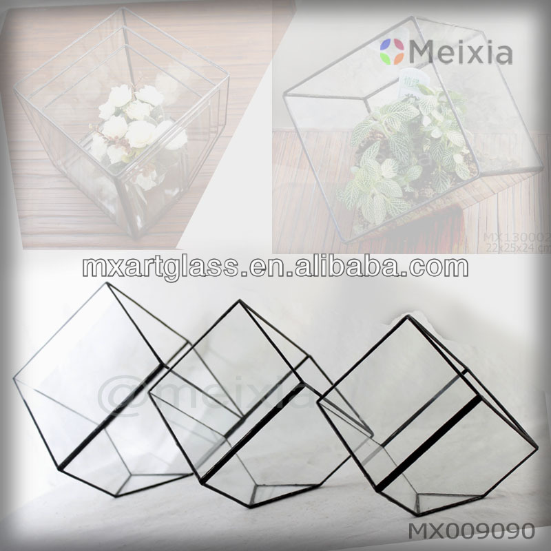 Mx009090 Tiffany Geometric Glass Terrarium For Plant Holder Home