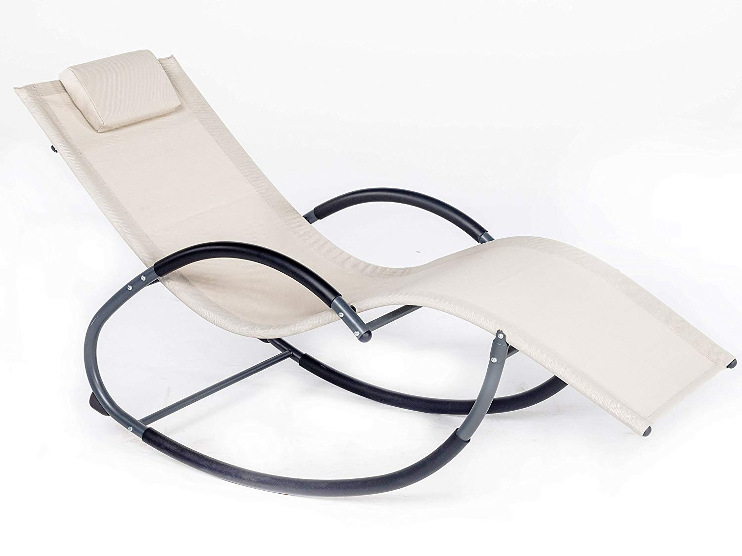 LUCKUP Outdoor Patio Iron Zero Gravity Chair Orbital Rocking Lounge Chair with Pillow Wave Rocker,Patio Chaise Lounge Rocking Lounger, Outdoor Lounge Chair (G Stlye, BEIGE)
