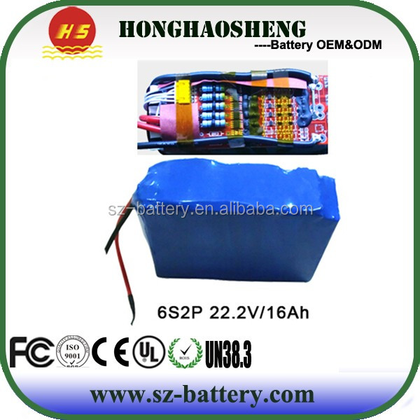 2014 new arrival hot sale OEM CE lipo battery 22.2v 6S 16Ah li-ion polymer battery pack