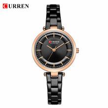 Женские наручные часы Curren, часы из нержавеющей стали синего цвета, 2019(Китай)