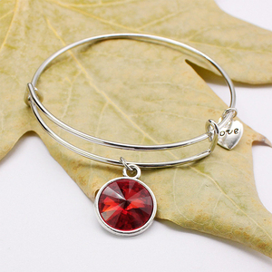 Crystal Birthstone Pendant Bangles,Fashion Adjustable Charm Stamped Charm Wire Bracelet