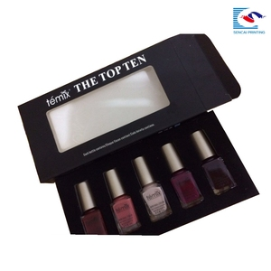 Black Nail polish paper box with foam insert /cosmetic ppaer box pvc window