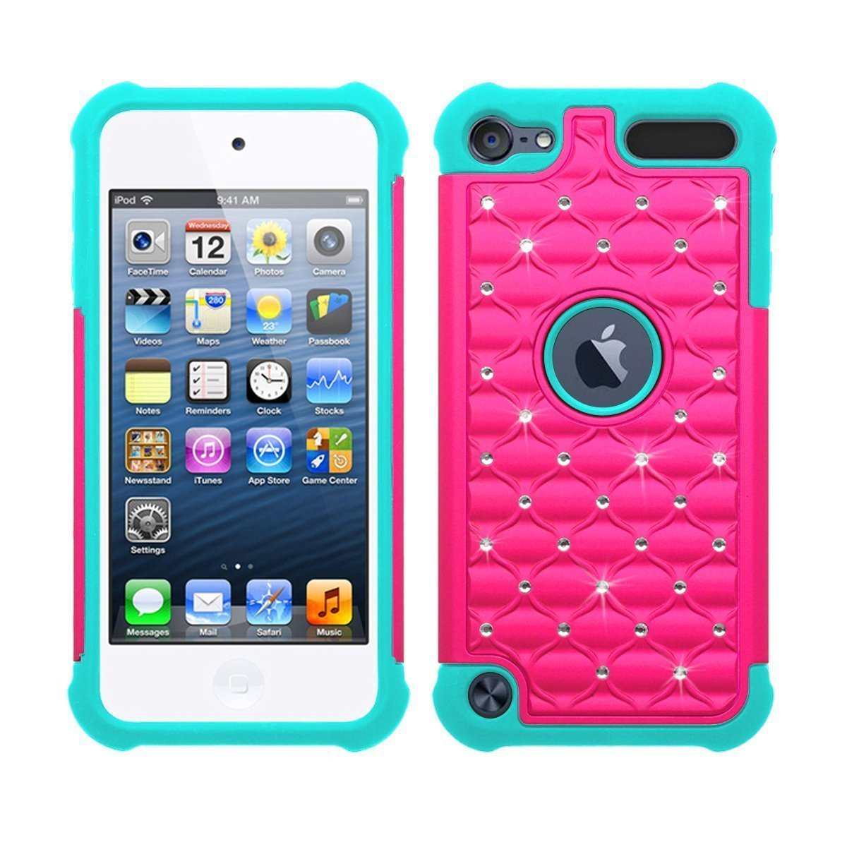 iPod Touch 5 Touch 6 Generation Case, Vogue shop Diamond design Durable 2in1 PC+Silicone Design Bumper Slim Crystal Bling Hybrid Armor Case Cover fit for iPod Touch 5 Touch 6 Generation (Rose+Teal)