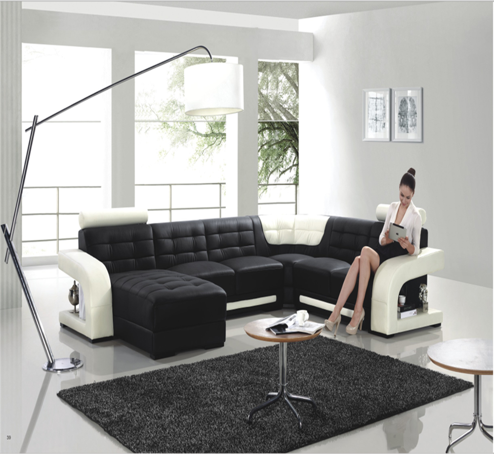 Awesome Big Size White And Black Modern Leather Corner Sofa Buy Leather Corner Sofa Corner Sofa Furniture Big Size Corner Sofa Furniture Product On Pdpeps Interior Chair Design Pdpepsorg