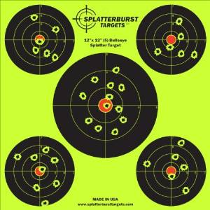 Splatterburst Targets - 12 x12 inch (5) Bullseye Reactive Shooting Target - Shots Burst Bright Fluorescent Yellow Upon Impact - Gun - Rifle - Pistol - AirSoft - BB Gun - Air Rifle