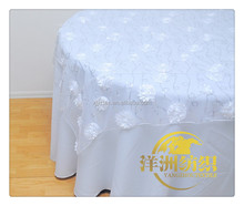 Polyester organza embroidery rosette with squins table overlay for weddings