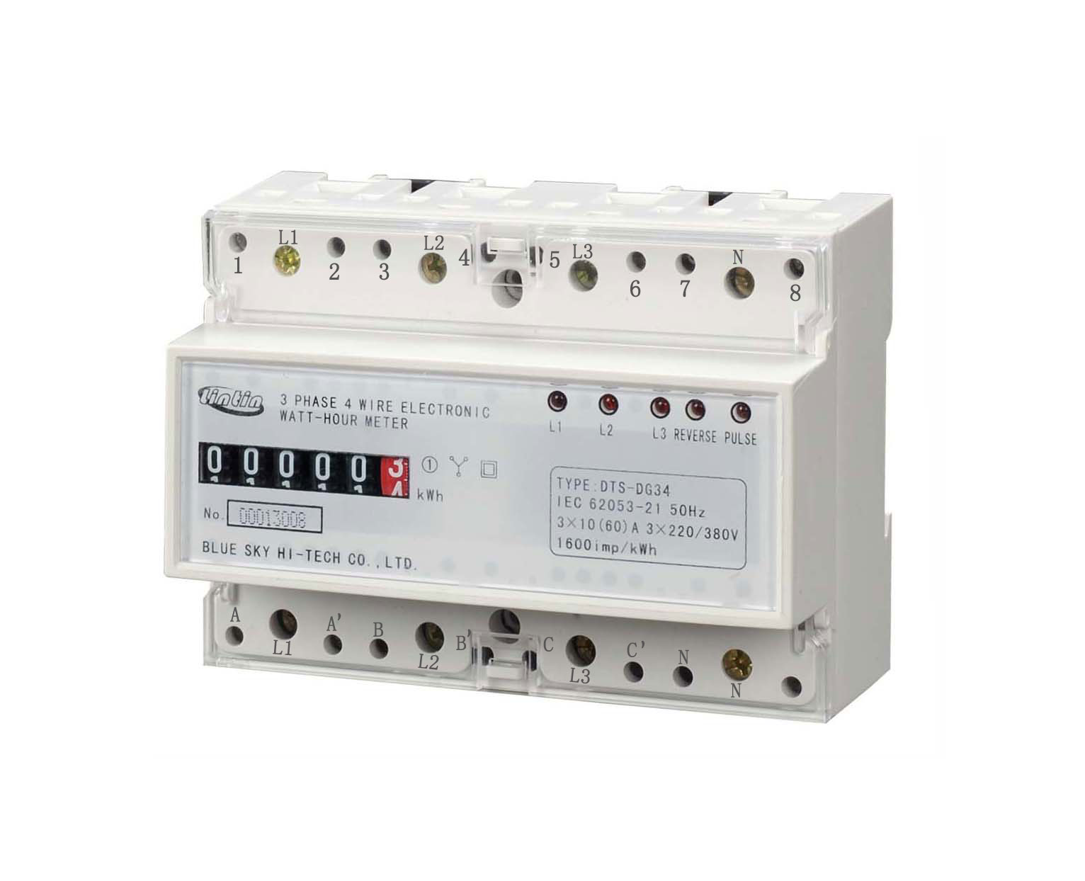 Three phase din-rail counters energy meter