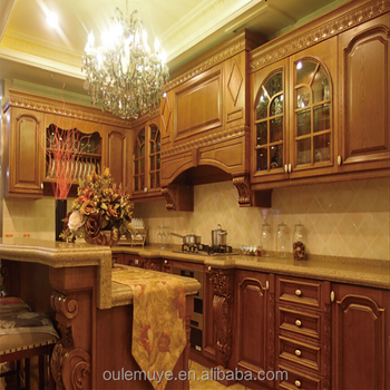 French Old Wooden Kitchen Furniture High Quality Colors Kitchen