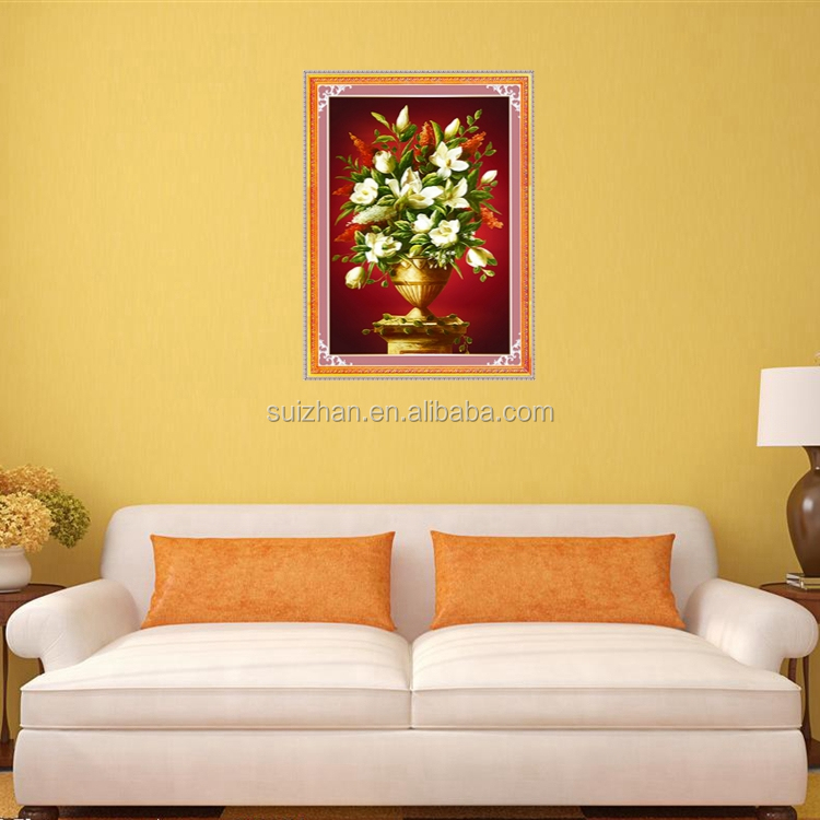 Simple Oil Painting Of Linen Canvas With Flower Dining Room Wall ...
