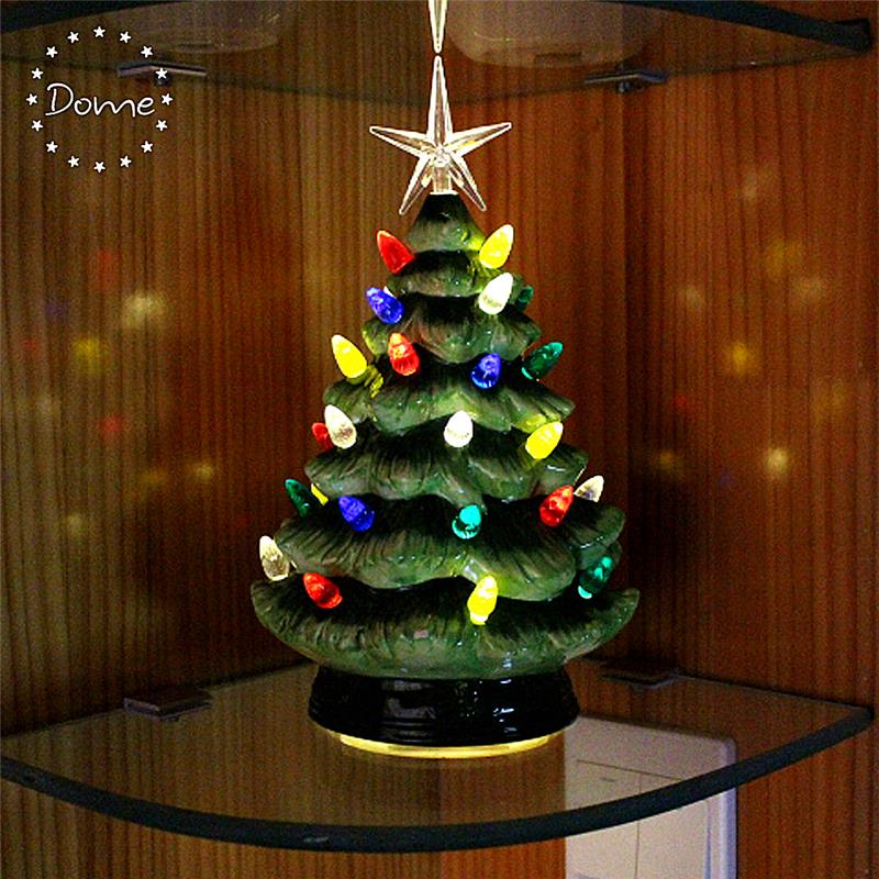 Battery Operated Green Ceramic Christmas Tree With Lights