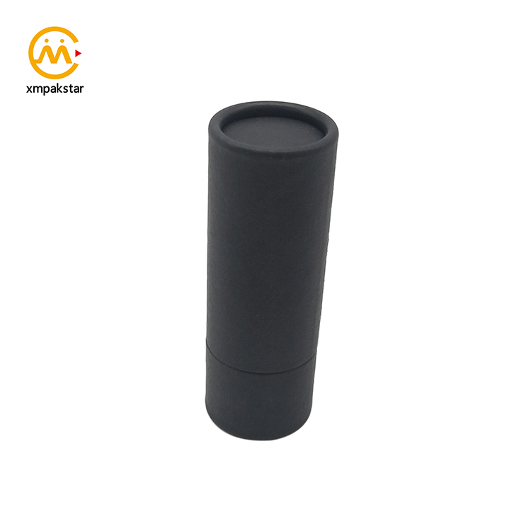 Eco friendly small round black Kraft paper box cardboard lipstick tube packaging for lip balm