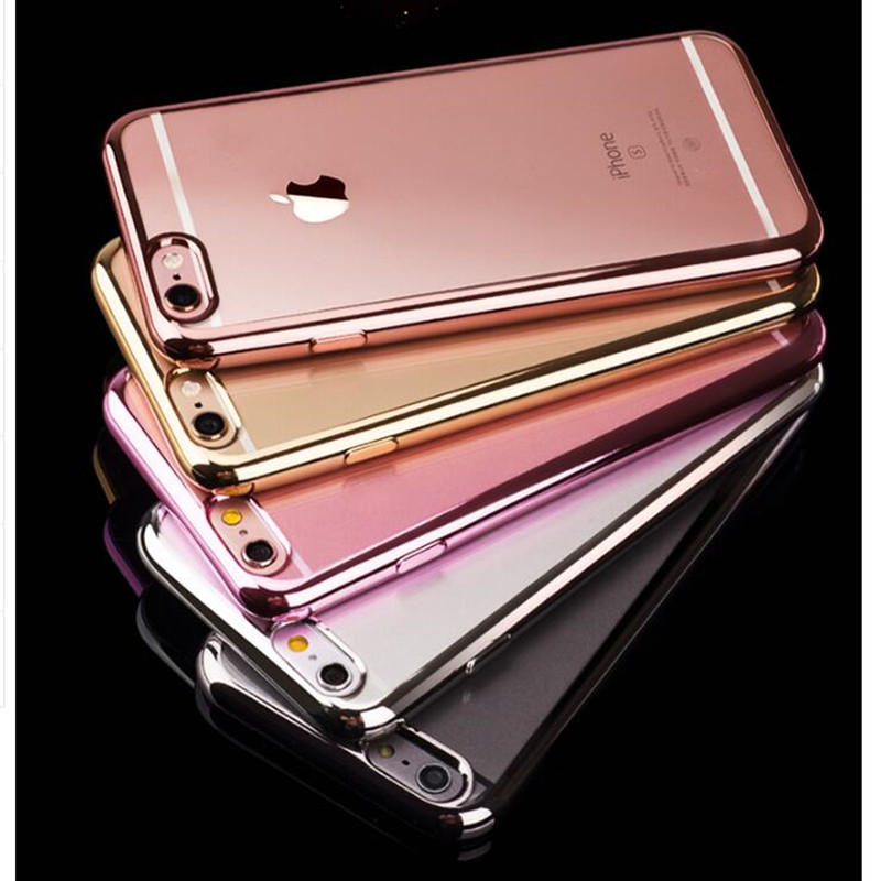 Rose Gold Luxury Plating Iphone X XS MAX XR Soft Clear TPU Cover For Iphone 6 7 Plus 6S 5S SE 8 PLUS Case Coque