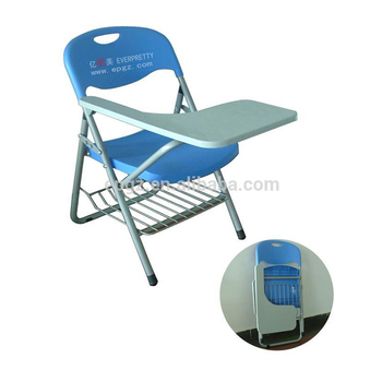 folding stackable school study training chairs with writing pad