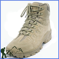 Khaki suede cow leather side zipper army tactical military desert boots