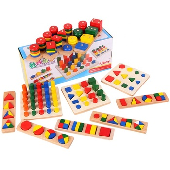 Early Learning Wooden Montessori Materials Geometry Cylinder Ladder Blocks china toddler montessori materials