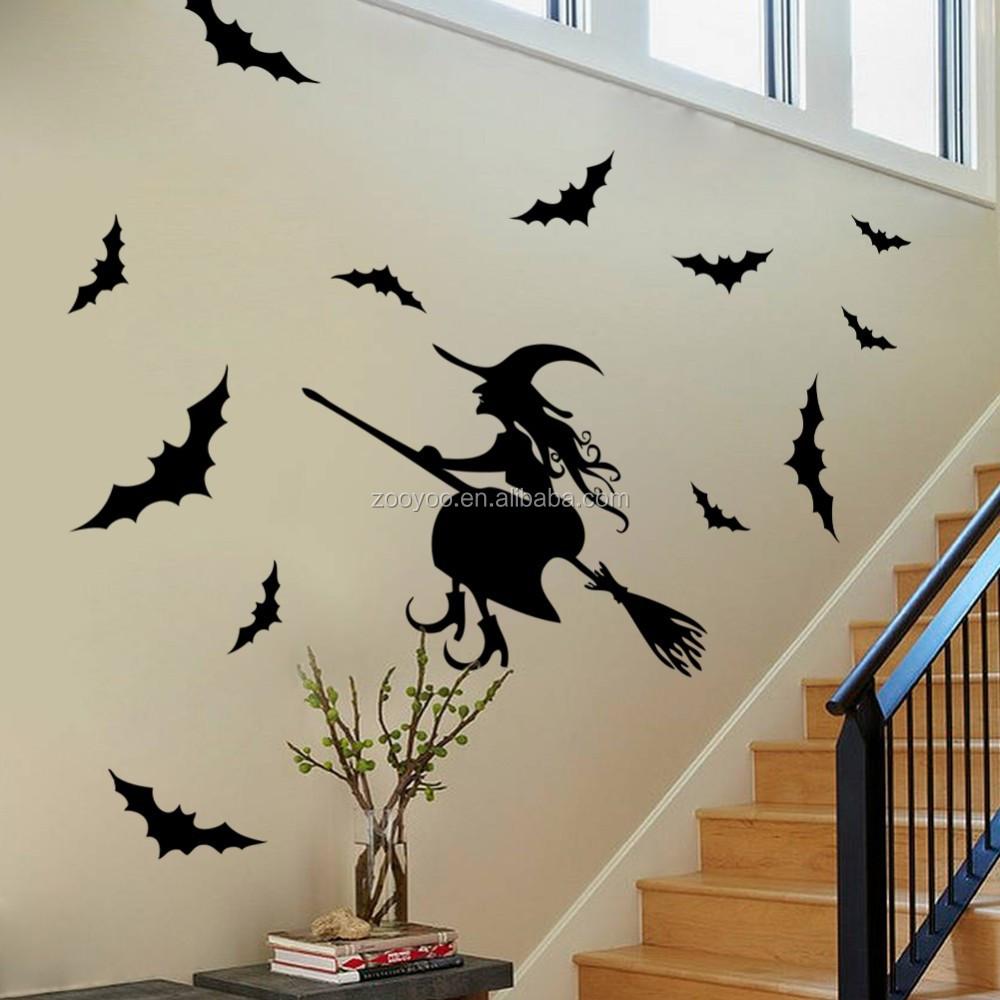 Verwijderbare vinyl muurstickers vleermuizen en vliegende heks ...