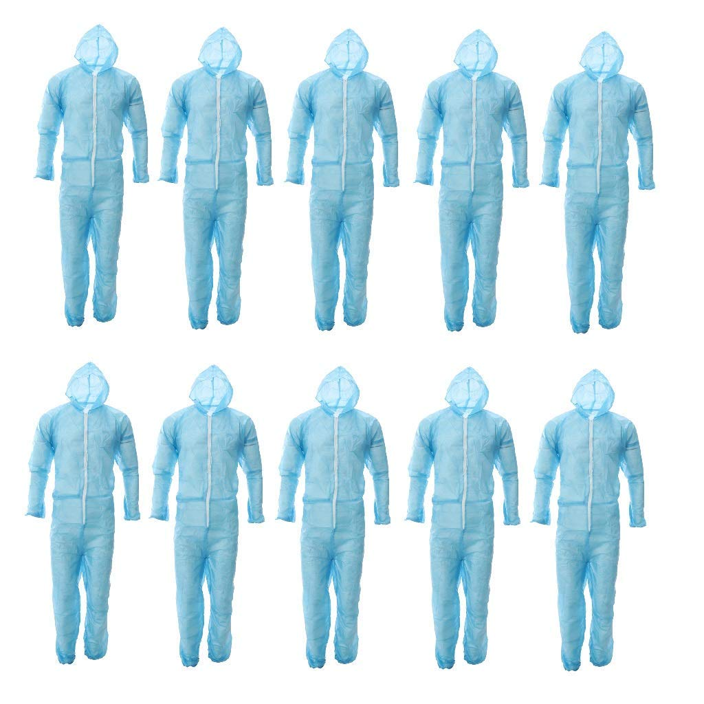 Baosity Disposable Coveralls Dust Spray Suit Non-Woven Lab Overall Clothing Blue, Fit 160-185cm Height, 10pcs Pack