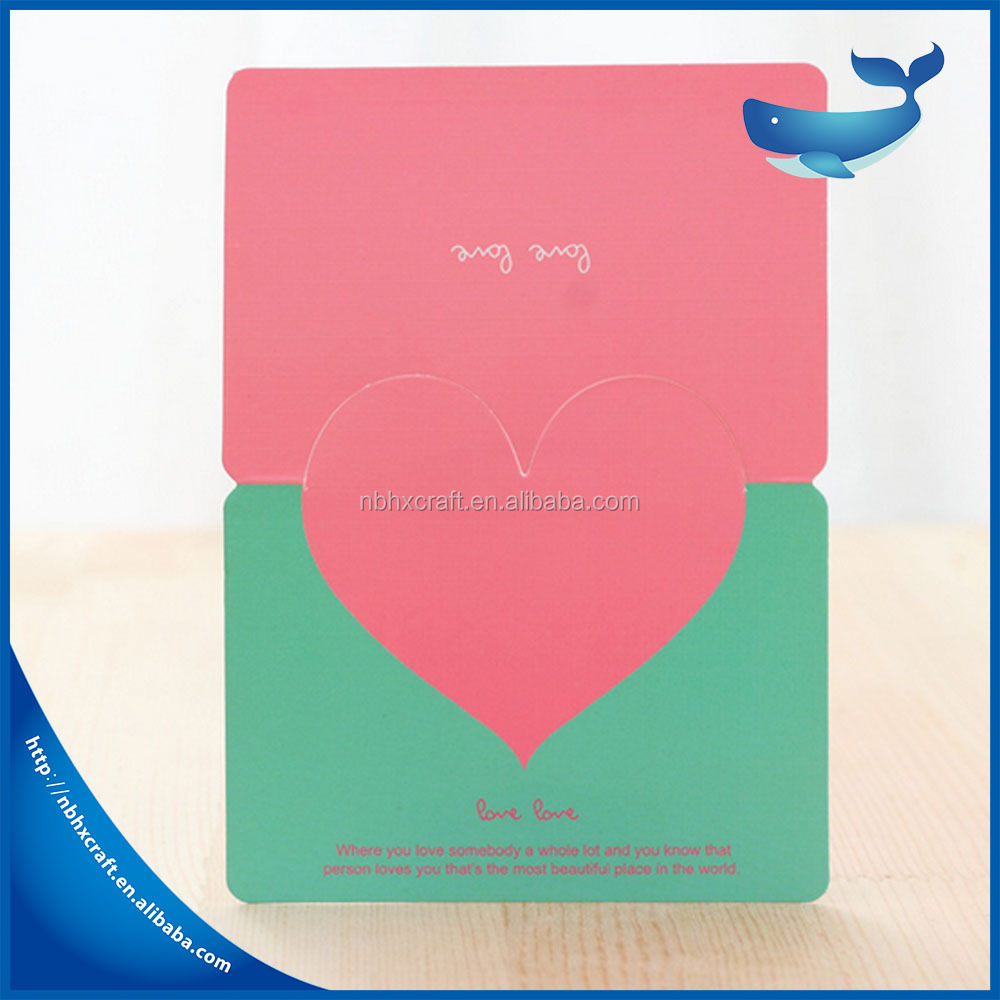 Customized festival Birthday greeting card heart shaped folding Thanks giving day card