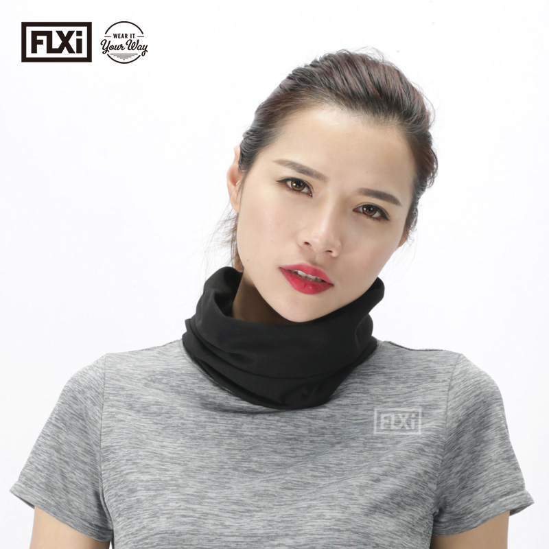 FLXi Polyester Microfiber Custom Multiple Seamless Solid <strong>Black</strong> Head <strong>Bandana</strong>