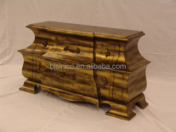 Antique Wooden Curio Cabinets, Exquisite Gold Painting Chest Of Drawers,  Classical Wood Carved Console