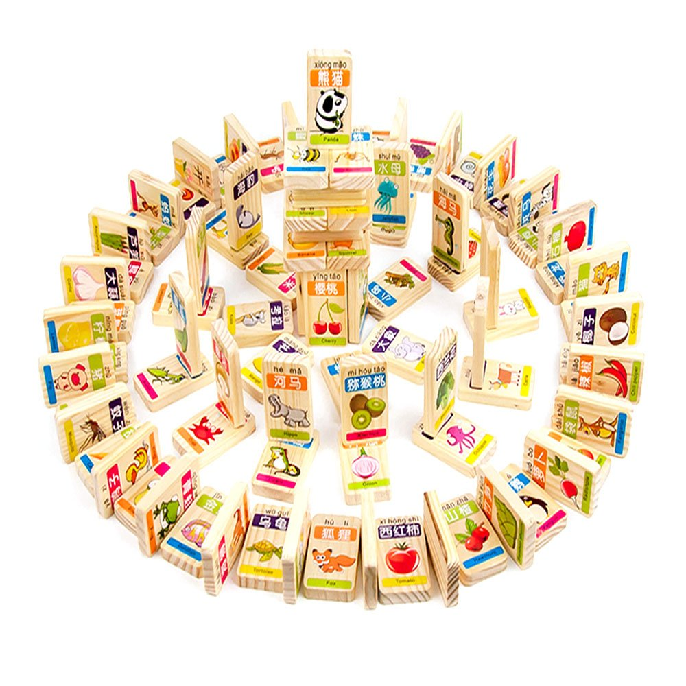 XDOBO New Chinese Characters Domino Children's Educational Product Smooth Surface and Rounded Corners Wooden Toys for Chinese Learning, Recognize / Identify Fruits and Animals, 100pcs