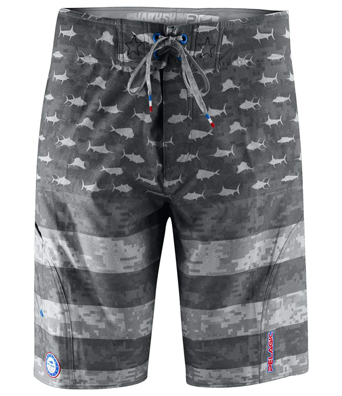 Pelagic Men's Sharkskin Americamo Boardshort Fishing | American Flag Design