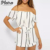 New fashion high quality women's casual tops off shoulder stripe print