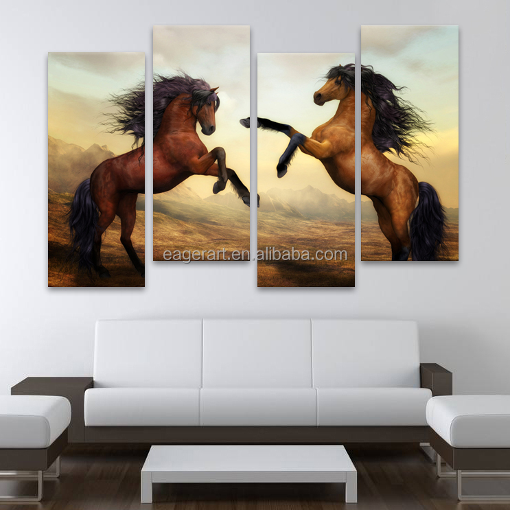 Wholesale HD 4 Panels Horses Painting Wall Art Prints <strong>Picture</strong>