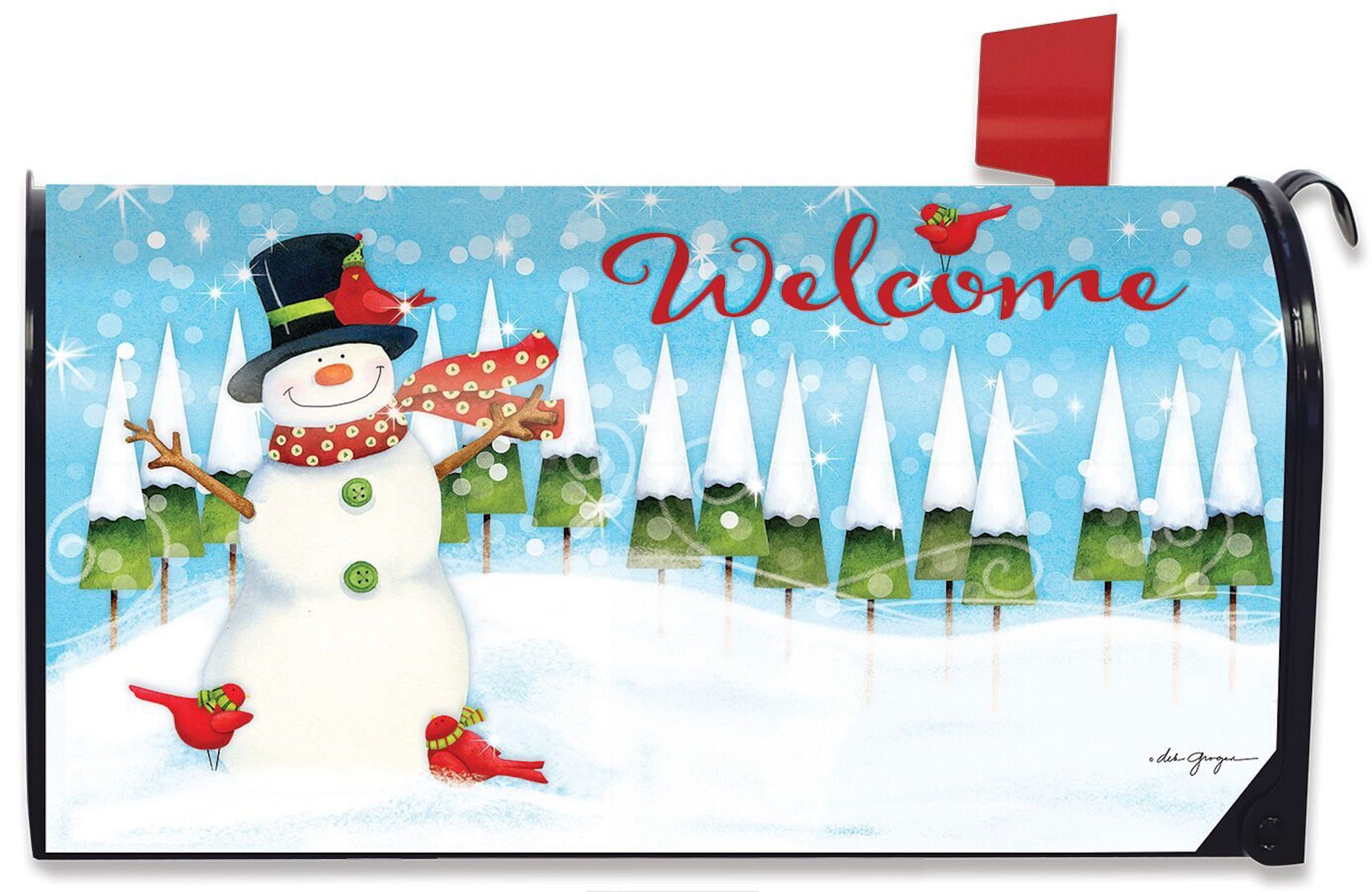 Briarwood Lane Snow Day Snowman Magnetic Mailbox Cover Winter Primitive Standard