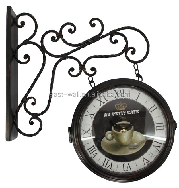 Coffee Bar double sided wall clock antique style roman numerals