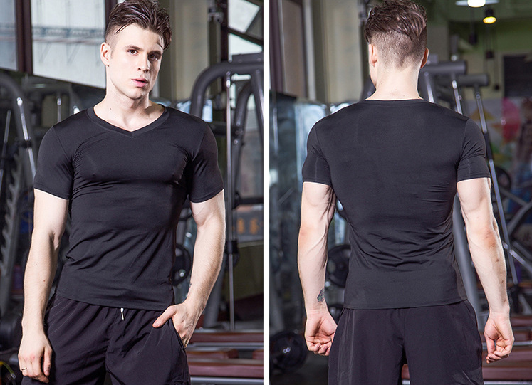 Custom logo printing factory 85% polyester 15% spandex wholesale fitness gym wear for men
