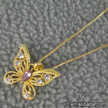 Butterfly Pendant Imitation Gold Necklace Designs GirlsLow Price